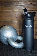 Спортивная термос-бутылка 2058 из нержавеющей стали с трубочкой и клипсой Kamille 500мл, фото 3