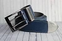 Ремень мужской джинсовый синий кожаный 40мм