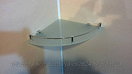 Полка с бортиком стеклянная угловая 6 мм матовая 25 х 25 см