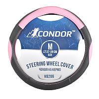 Чехол на руль Сondor M37-39, кож.зам черно-розовый К6206