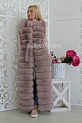 Жилет из пальтовой трикотажной ткани с  песцом, размер 46