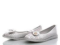 Белые туфли с бантиком для девочек KLF (размер 30-37)