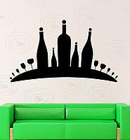 Виниловая интерьерная наклейка - вино бутылки