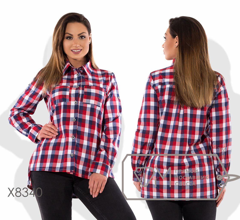 3614cfd491b Клетчатая хлопковая женская рубашка в больших размерах fmx8340 -  Интернет-магазин одежды
