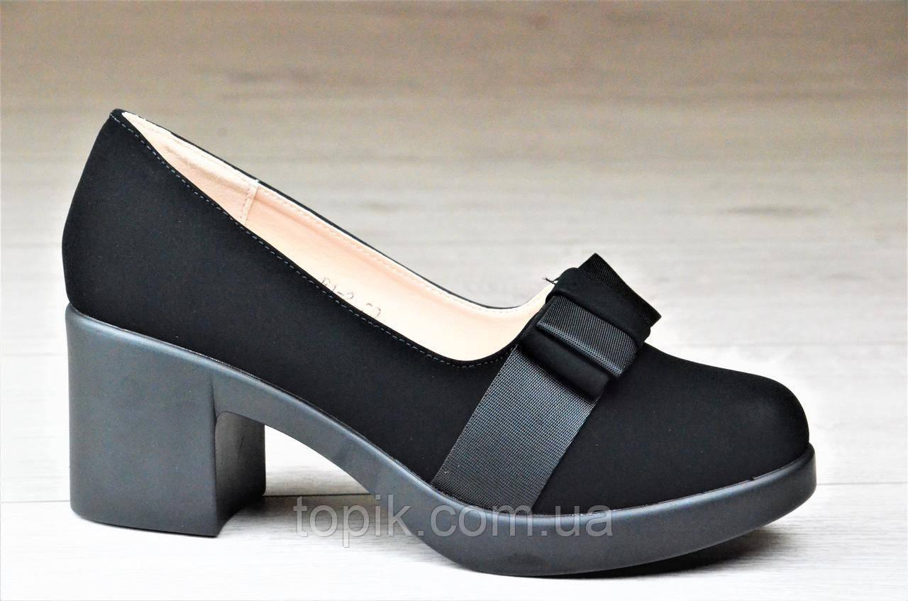 d3f8dce2d Туфли женские на каблуке и небольшой платформе черные элегантные (Код: 1095)