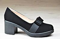 Туфли женские на каблуке и небольшой платформе черные элегантные (Код: 1095)
