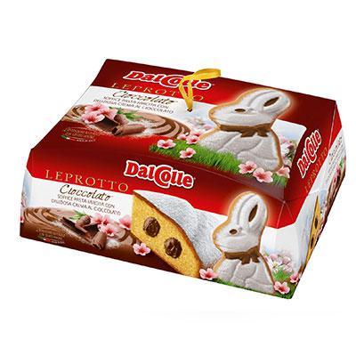 Пасхальный кулич DalColle Leprotto в форме кролика внутри с шоколадом, 750 гр. Италия