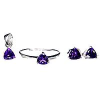 Аметист, серебро 925, кольцо, кулон и серьги комплект, 048НА