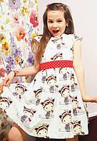 Платье детская  «Девочка с поясом в горох». Нарядное