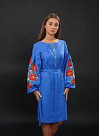 Платье вышиванка с маками на рукавах, арт. 4153