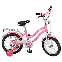 Велосипед детский  14 дюймовый PROF1 L1491 Star, розовый, зеркало, звонок, доп.колеса