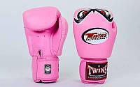 Женские перчатки боксерские кожаные на липучке TWINS FBGV-25-PN (р-р 10-12oz, розовый)