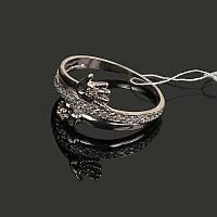 Серебряное кольцо Ладошка с цирконами