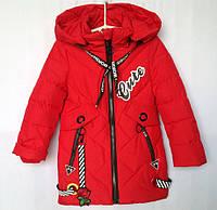 """Куртка детская демисезонная """"Fengshuoda"""" #810 для девочек. 3-4-5-6-7 лет. Красная. Оптом., фото 1"""