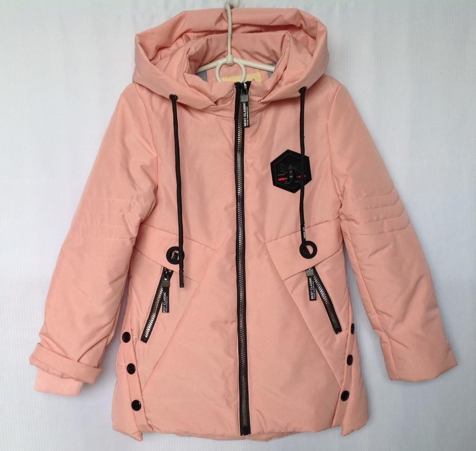 """Куртка детская демисезонная """"КУЗЯ"""" #66-387 для девочек. 6-7-8-9-10 лет. Персиковая. Оптом."""