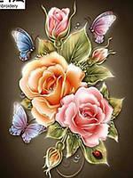 """Алмазная вышивка размер изображения 40×30 - набор """"Английские розы - 2"""""""