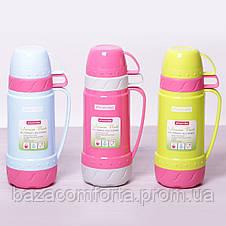 Термос 2076 пластиковый со стеклянной колбой Kamille 600мл салатовый с розовым, фото 2