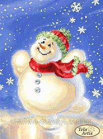 """Схема для вышивки бисером на атласе """"Счастливый снеговик"""""""