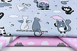 """Ткань бязь """"Котики с крыльями"""" розовые на сером  №1262, фото 2"""