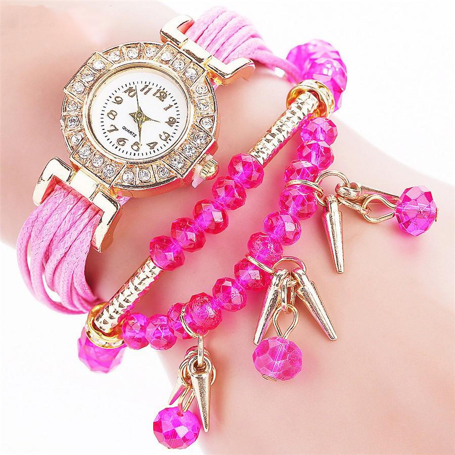 Женские часы браслет с розовым ремешком