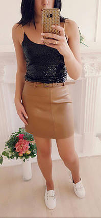 Мини юбка из экокожи со съемным ремешком 42-46 р, фото 2