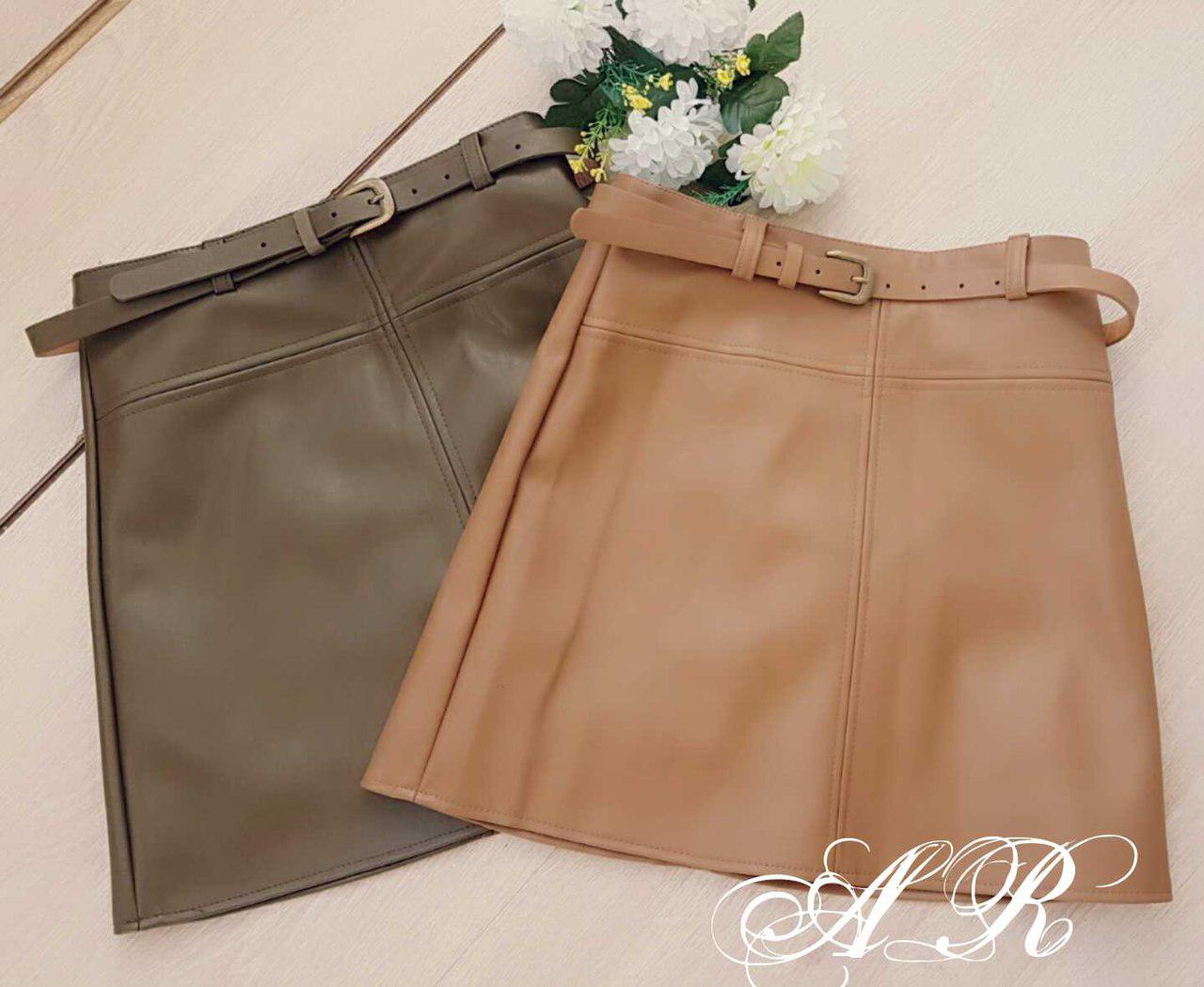 Мини юбка из экокожи со съемным ремешком 42-46 р