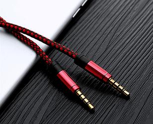 Аудио кабель AUX 3.5мм  папа - папа 1.5м Red