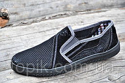 Мужские летние мокасины, сетка черные легкие и удобные (Код: 1099)