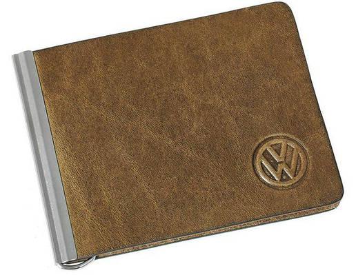 Зажим для купюр кожаный  авто логотипом Grande Pelle Volkswagen 10152022 коричневый