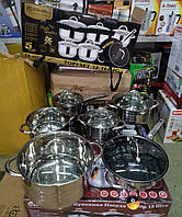 Набор кастрюль EDENBERG EB-4007 2.1 / 3 / 4 / 6.6 л + ковш 2.1 л + сковорода мрамор 24 см (12 предметов)