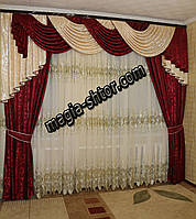 2 шторы + ламбрекен на карниз 3 метра, фото 1