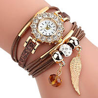 Женские часы браслет с подвесками коричневый ремешок