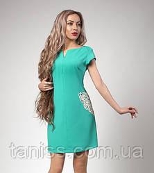 Летнее короткое платье из костюмки с ажурными карманами макраме р. 48 бирюза (553