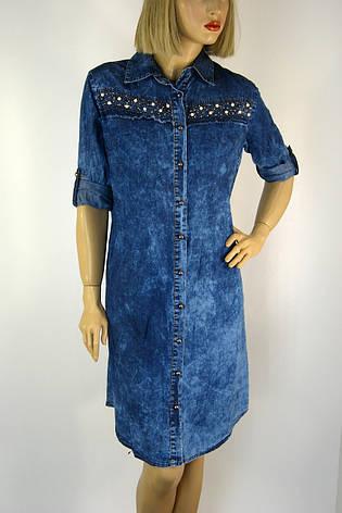 Джинсова туніка плаття з стразами 0136, фото 2