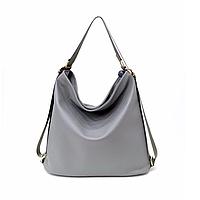 Сумка рюкзак трансформер женская серая код 3-299