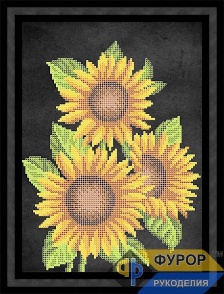 Схема для вишивки бісером картини Три соняшника (НБч4-121-1)