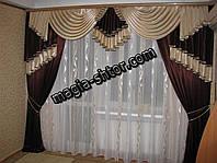 Ламбрекен и шторы на карниз 3 метра