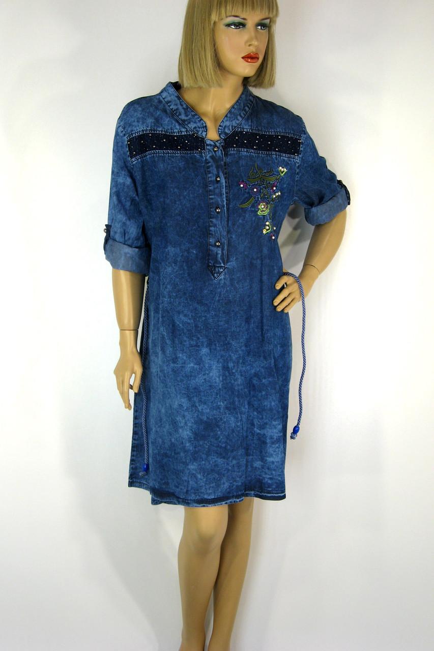 Платье джинсовое большого размера с вышивкой Sinsere