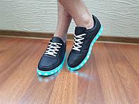 Кроссовки с LED подсветкой унисекс Black 40