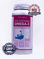 Омега-3 жвачка для детей, Рыбий Жир, Норвегия, + Витамины Е, D, 100 шт.