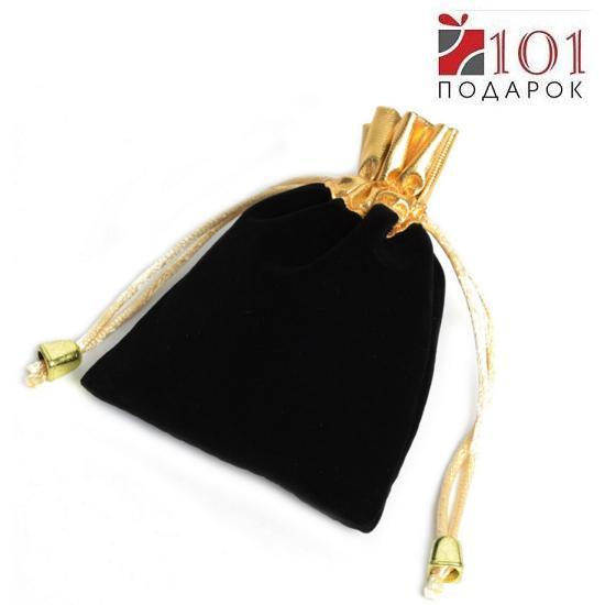 Мешочек 10*12 см, 25 шт. бархатный золотистая стяжка