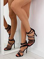 03-29 Черные женские босоножки на шпильке LE039 39,37,36, фото 1