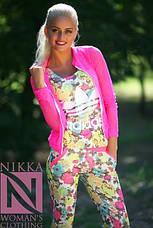 Женский костюм в цветочек 3йка с гипюровой кофточкой, фото 2