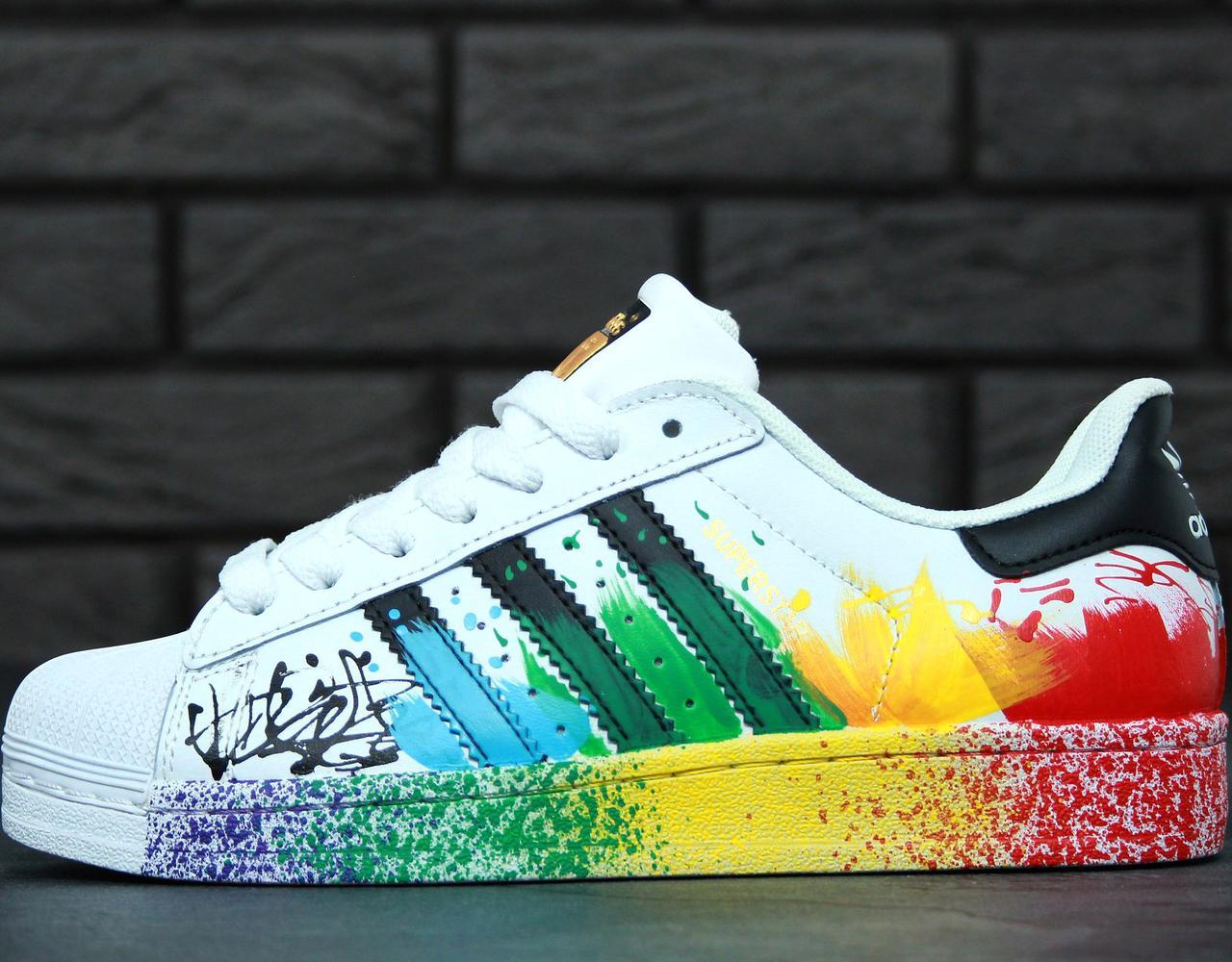 Женские кроссовки в стиле Adidas Superstar Rainbow Paint Splatter White -  Интернет-магазин обуви Bootlords 9f6ae77df715