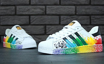 Женские кроссовки Adidas Superstar Rainbow Paint Splatter White, фото 3
