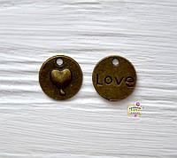 Подвеска металлическая,  Круг с сердцем,15мм, 1 шт., античная бронза