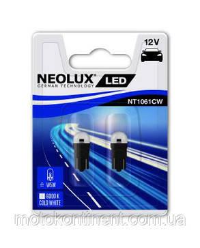 Лампа W5W NEOLUX светодиод (неолюкс)  W5W LED 12V 1W W2,1X9,5D / ХОЛОДНЫЙ БЕЛЫЙ 6000K , фото 2