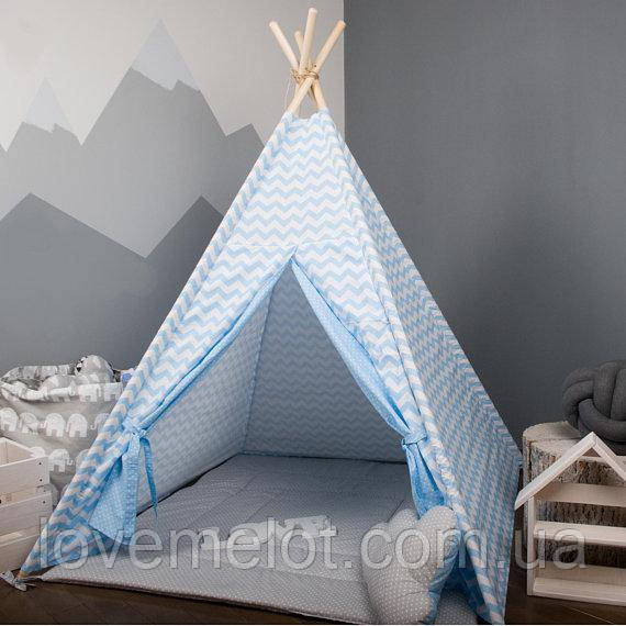 Детская палатка с окном + коврик + 1 подушка, вигвам для детей, шалаш для деток, палатка для детей