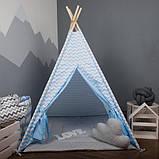 Детская палатка с окном + коврик + 1 подушка, вигвам для детей, шалаш для деток, палатка для детей, фото 4