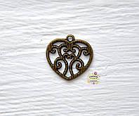 Подвеска металлическая, Сердце ажурное, 21*20*1,5мм, 1 шт., античная бронза